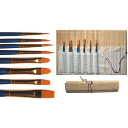 Kit 10 pinceaux synthétiques , manches courts + natte bambou
