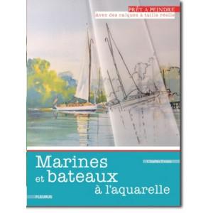 Marines et bateaux à l'aquarelle - Livre + calques