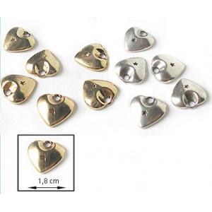 Elément métallique - Pendentif - Cœur avec étoile