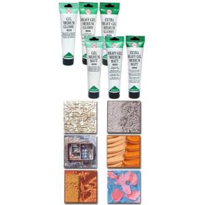 3 types de médiums gel existant tous les 3 en brillant ou en mat : médium gel, médium gel épaississant et médium gel extra