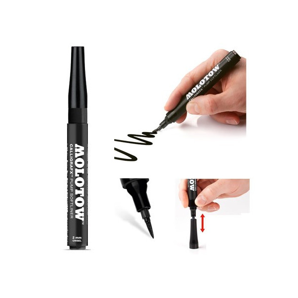 Marqueur pinceau Calligrafx rechargeable - Molotow