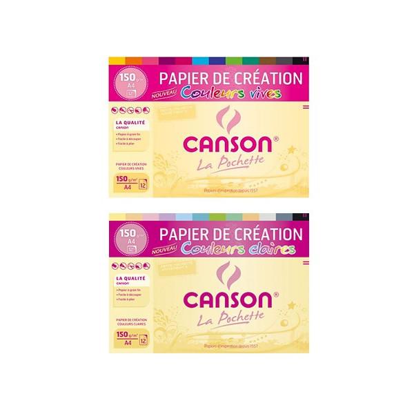 Papier de Création couleurs- grain fin 150gr - Canson