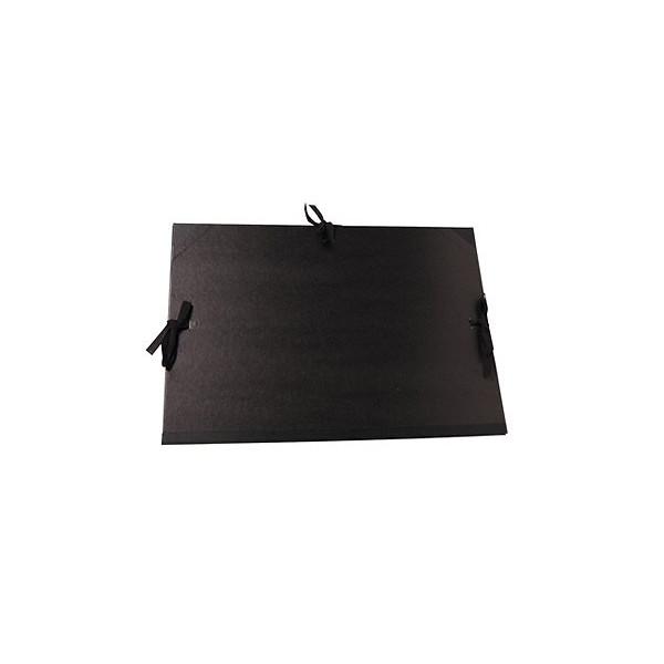 Carton à dessin kraft noir à cordons et rabats
