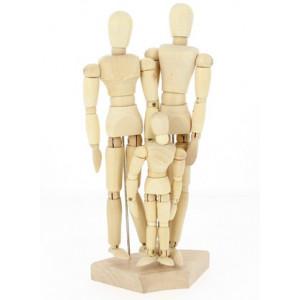 Set de 3 mannequins articulée en bois - Homme, femme et enfant