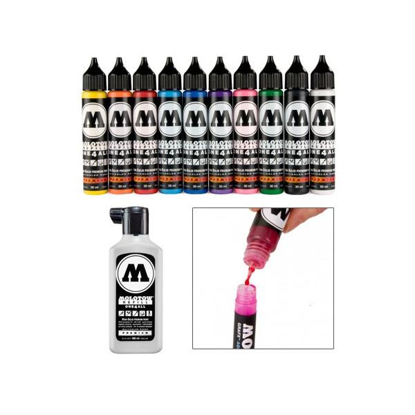 Recharge peinture acrylique pour marqueur One4all et Transformer - Molotow