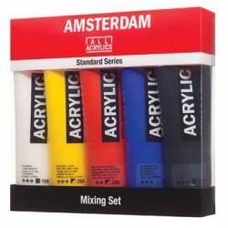 Set de 5 tubes acrylique primaires 120ml Amsterdam