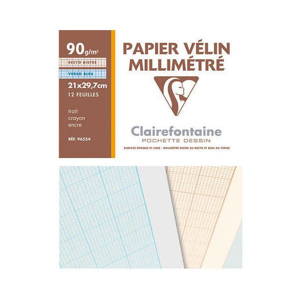 Pochette papier Vélin Millimétré - 90gr - Clairefontaine