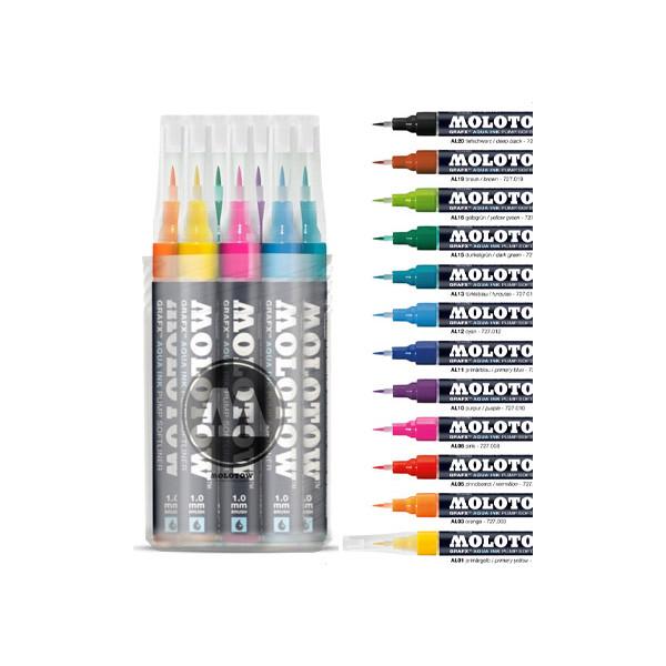 Boîte de 12 feutres pinceaux GRAFX rechargeable - Molotow