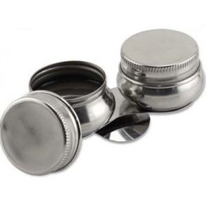Godet double en métal avec couvercles