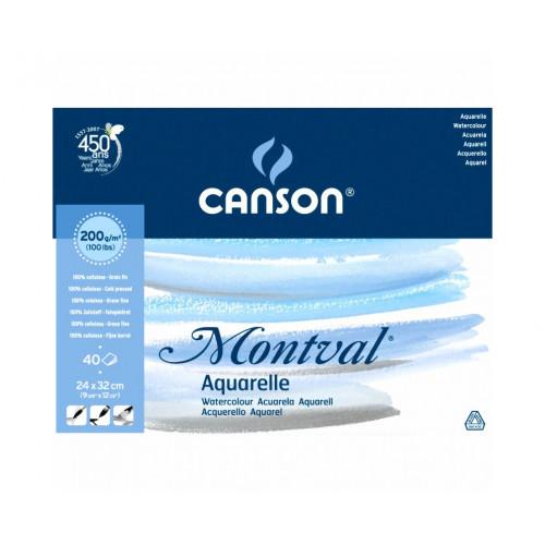 Bloc Aquarelle Canson Montval  - Collé 4 côtés