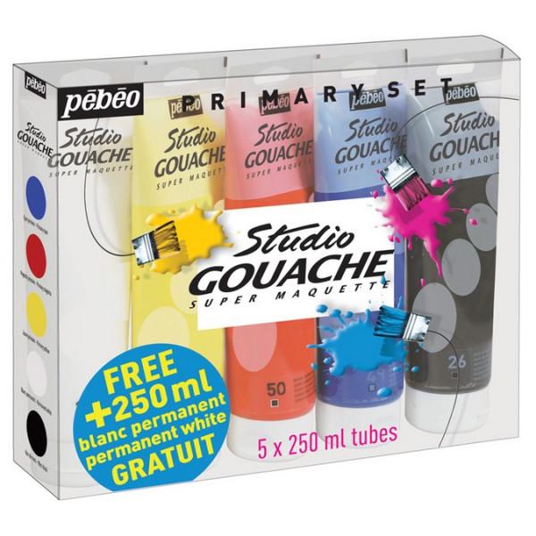 Pack de 5 tubes Studio gouache 220ml - OFFRE 1 tube gratuit !