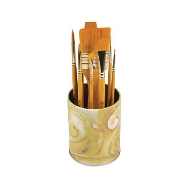 Pot de 10 pinceaux synthétiques - Acrylique et huile