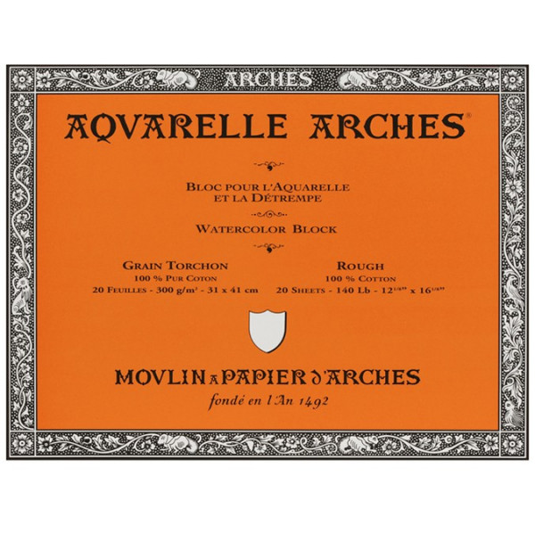 Bloc aquarelle Arches - grain torchon 300gr