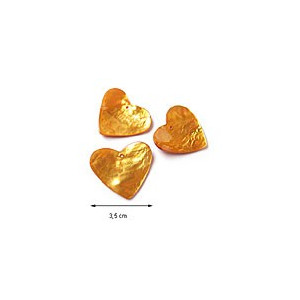 Cœurs en nacre - Couleur : Jaune orangé