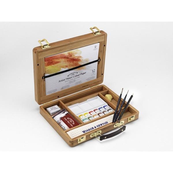 Coffret bambou aquarelle demi-godets Winsor & Newton