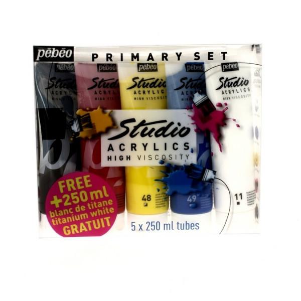 Pack de 5 tubes Studio acrylique 250ml - Pébéo - OFFRE 1 tube gratuit !