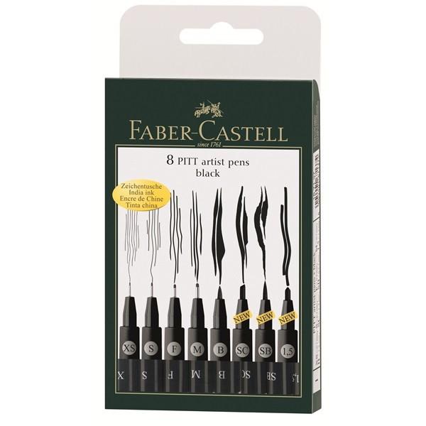 Pochette 8 feutres Pitt noir - Faber-Castell