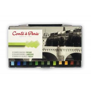 Coffret 12 carrés couleurs paysage - Conté à Paris
