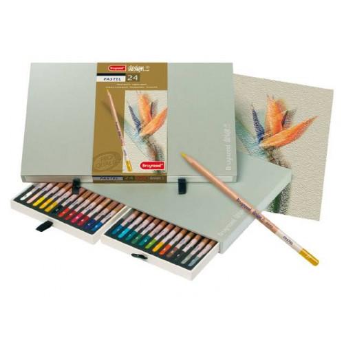 Coffret 24 crayons pastels - Bruynzeel