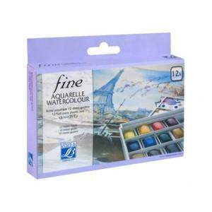 Boîte plastique 12 demi-godets Aquarelle Fine - Lefranc & Bourgeois