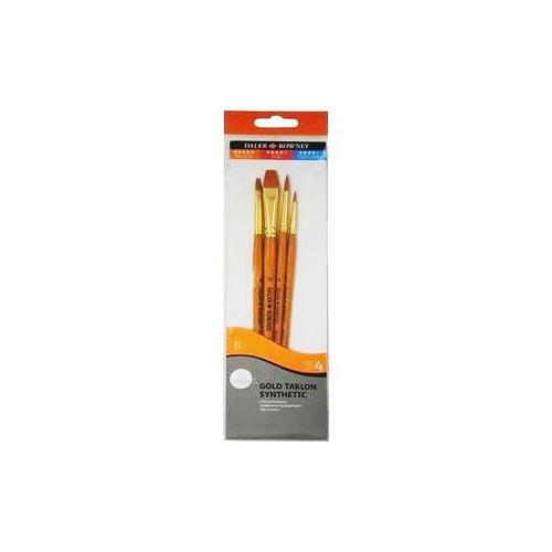 Pochette 4 pinceaux - Synthétique Taklon doré