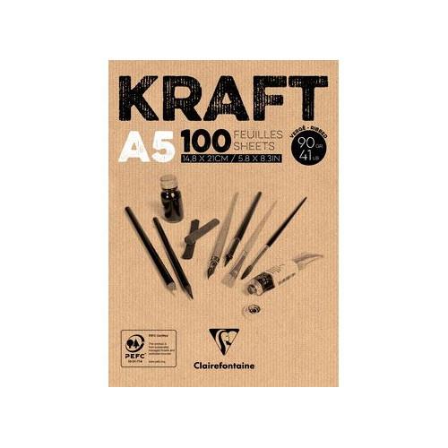 Bloc dessin en Kraft - 90gr  - Clairefontaine