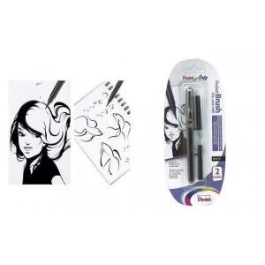 Feutre pinceau Pocket Brush Pentel + 2 cartouches