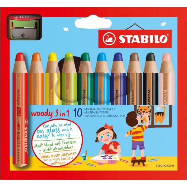 Pochette de 10 crayons Stabilo - 3 en 1 WooDY - avec taille-crayon