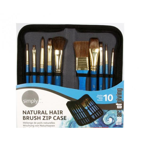 Trousse 10 pinceaux poils naturels - Simply