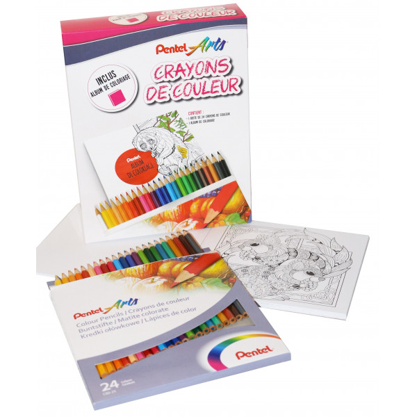 Set de coloriage - 24 crayons + album - Pentel