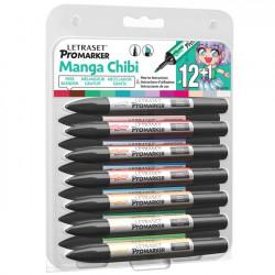 Set de 12 promarkers  + blender offert - Manga Chibi