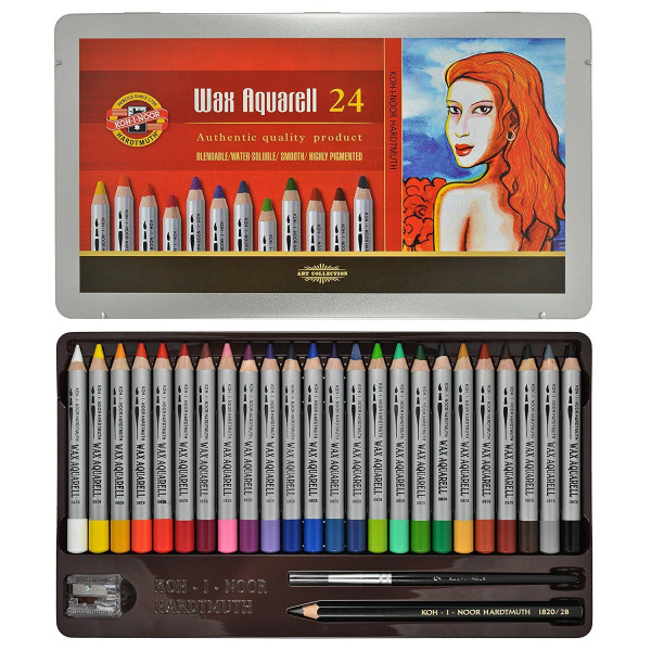 Boîte de 24 crayons Wax aquarelle + accessoires - Koh-I-Noor