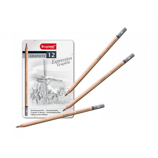 Boîte de 12 crayons graphite Expression - Bruynzeel