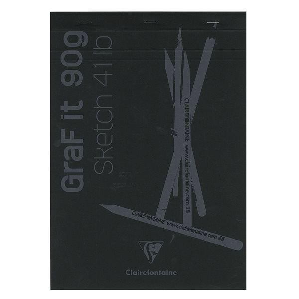 Bloc esquisse GRAF IT encollé noir - 80 feuilles 90g/m² - Clairefontaine
