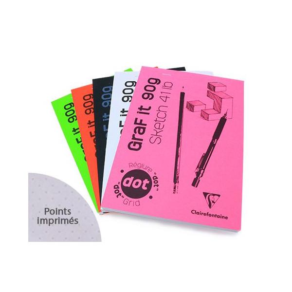 Bloc GRAF IT DOT agrafé - 80 feuilles 90g/m² - Clairefontaine