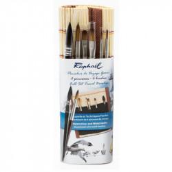 Pochette 6 mini pinceaux + natte bambou - Raphaël