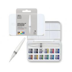 Boîte d'aquarelle Cotman 12 demi-godets + pinceau réservoir