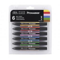 Set de 6 brushmarkers couleurs de tons moyens