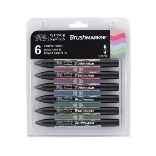 Set de 6 brushmarkers couleurs de tons pastels