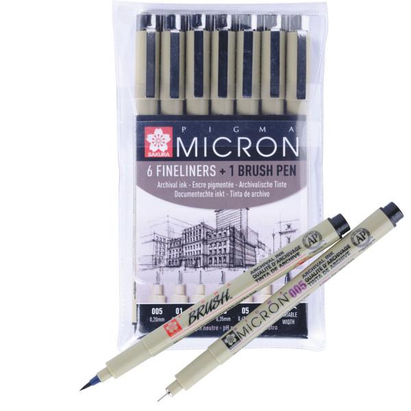 Set de 6 feutres Pigma Micron + Pigma brush offert