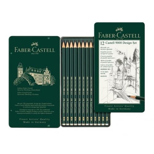 Boîte de 12 crayons graphite Castell 9000 - Design set - Faber-Castell