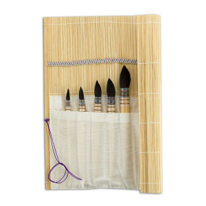 Set de 5 pinceaux petit-gris + natte bambou