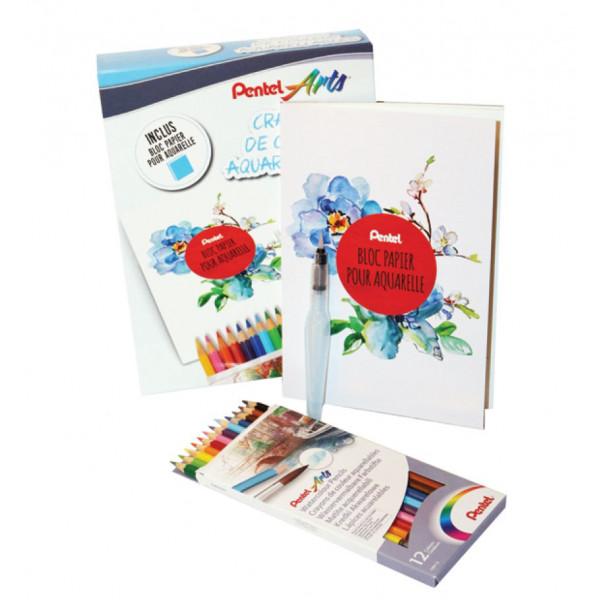 Set aquarelle - 12 crayons + pinceau réservoir + bloc papier - Pentel
