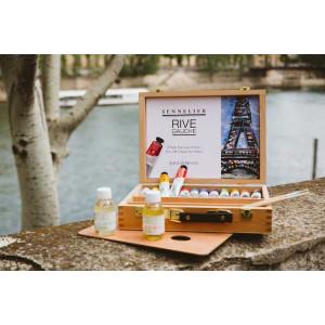 Coffret cadeau artistes en bois 12 tubes huile fine
