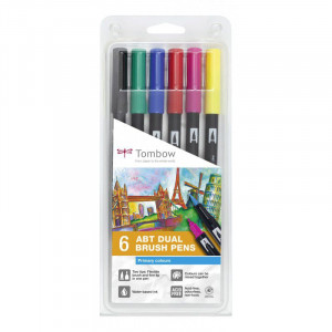 "Set de 6 feutres double pointe ABT ""Basique"" - Tombow"