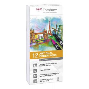 """Boîte 12 feutres double pointe ABT """"nuance de gris"""" - Tombow"""