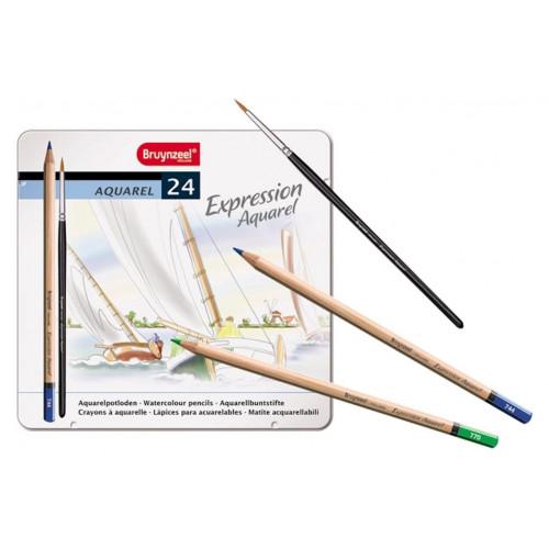 Boîte de crayons aquarelle de couleur + pinceau - Bruynzeel