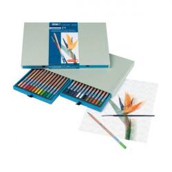 Coffret 24 crayons aquarellables + pinceau - Bruynzeel