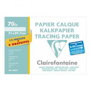 Pochette papier calque 70gr - 21x29,7cm - 12 feuilles + 3 gratuites
