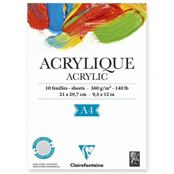 Bloc papier acrylique 360gr - Clairefontaine
